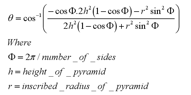 General Algebraic Solution to the Angle between Surfaces of a Pyramid