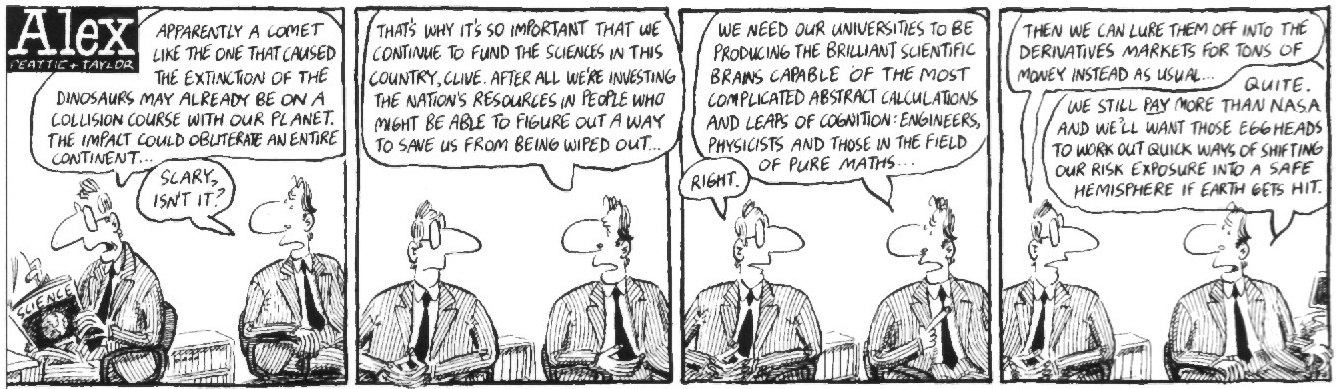 Alex - Cartoon about priorities in the workplace - altruism vs. earnings.  Used by kind permission of the artists.